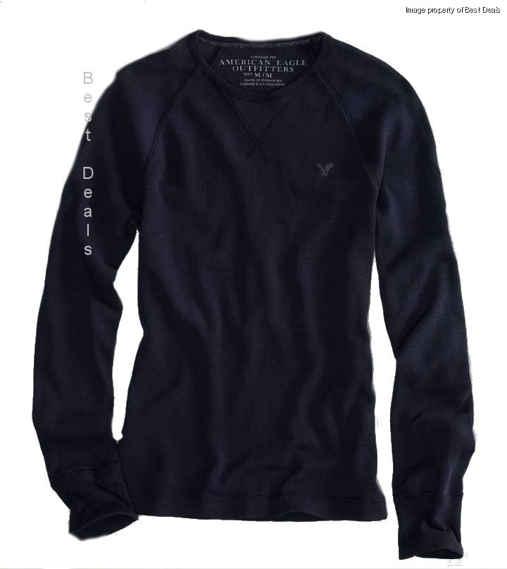 American eagle mens ae vintage fit thermal shirt black new for Mens black thermal t shirts