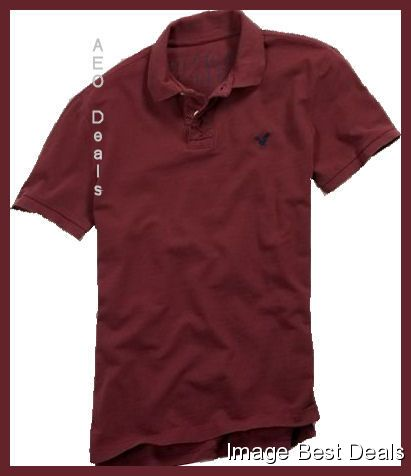 American-Eagle-Mens-AE-Athletic-Fit-Pique-Burgundy-Polo-NEW-FREE-FAST-SHIPPING