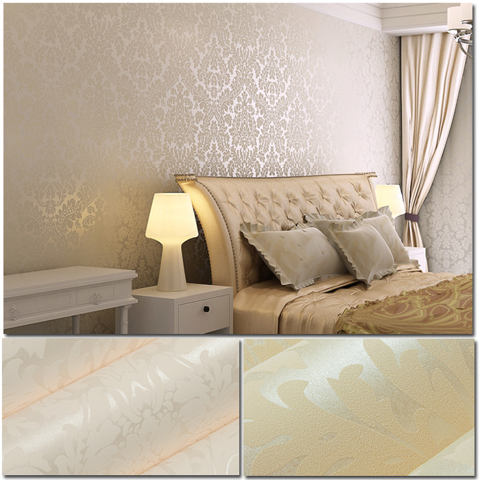 10m damask art non woven flocking wallpaper rolls 2 colors bedroom tv