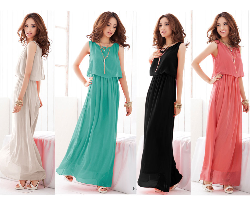 4-Colors-Womens-Bohenmia-Pleated-Cocktail-Evening-Princess-Chiffon-Long-Dress-M