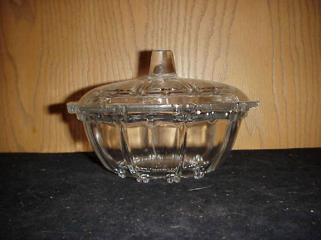 Depression Glass Candy Dish With Lid Oyster Amp Pearl Ebay
