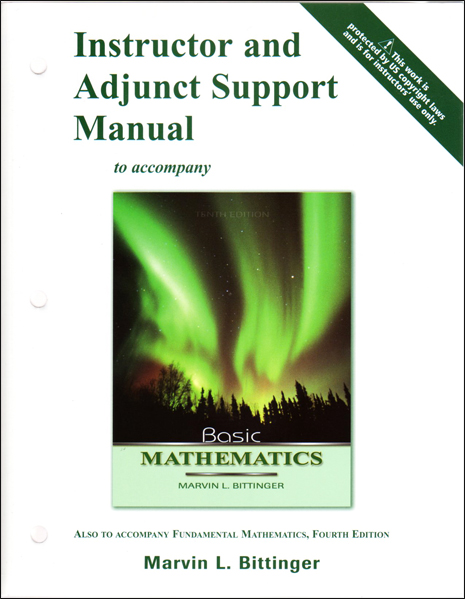 Thumbnail of Instructor and Adjunct Support Manual to accompany Basic Mathematics 10th Editio