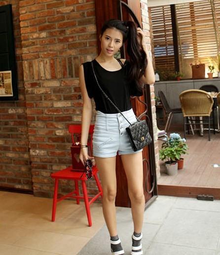 2012 Fashion Lovely Girl Denim High Waist Hot Shorts Jeans Pants ...
