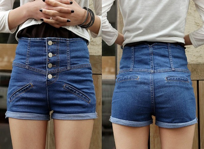 2012 Fashion Lovely Girl Denim High Waist Hot Shorts Jeans Pants