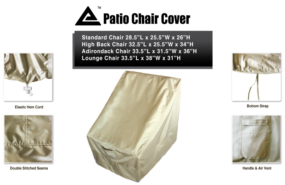 "Outdoor Water UV Resistant Patio Standard Chair Cover 28 5 Lx25 5""Wx"