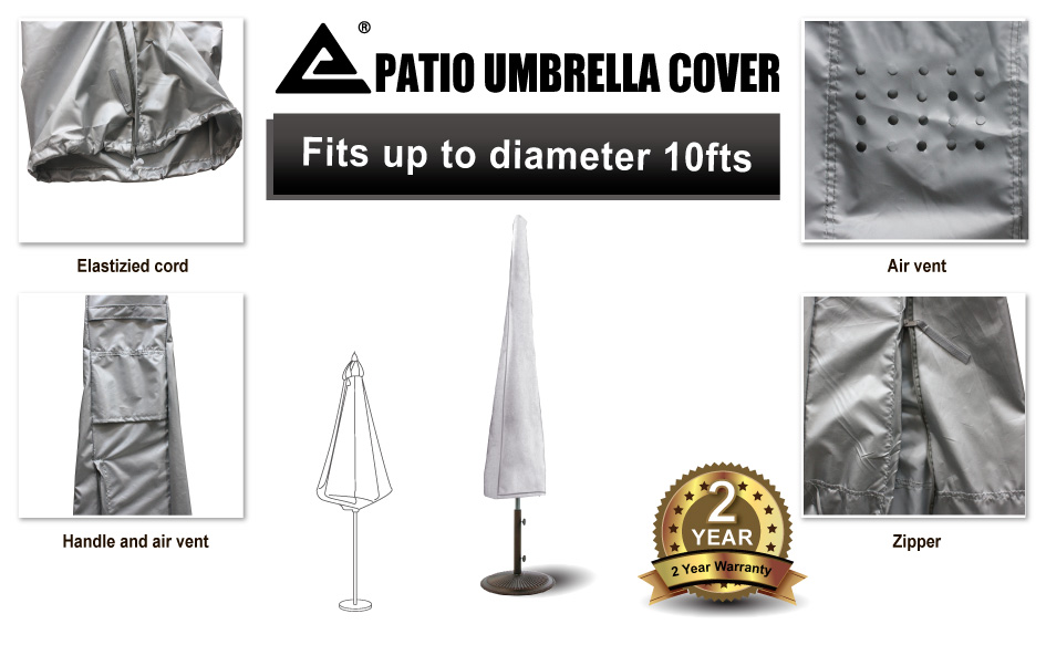 Outdoor Furniture Cover Patio Umbrella Cover with Zipper Fits 10 feet D