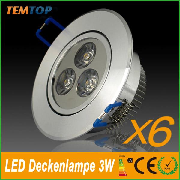 6-x-3W-LED-Spot-Einbauleuchte-Warmweiss-Einbau-Strahler-Set-Decken-Leuchte-Lampe