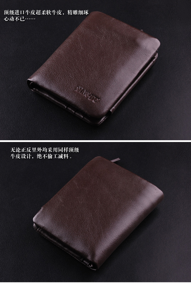 100 Men S Top Italian Genuine Leather Trifold Wallet