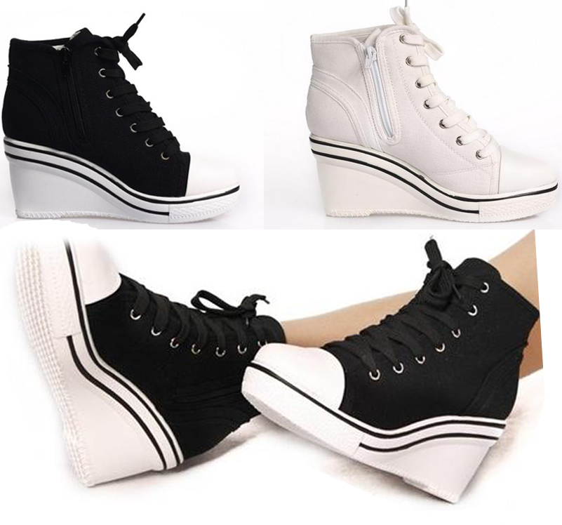 canvas wedge heels sneakers tennis shoes s37uk2 5 6