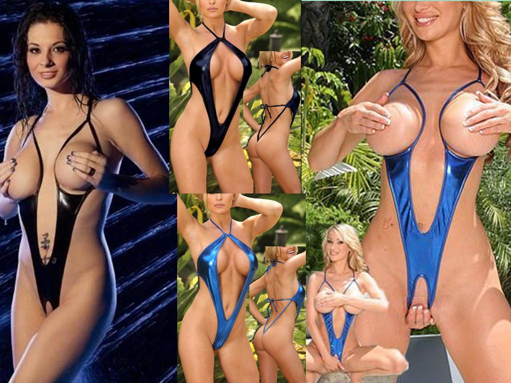 2-Styles-Lingerie-Wetlook-Vinyl-Open-Bust-Open-Crotch-Teddy-Stripper-DS1048b