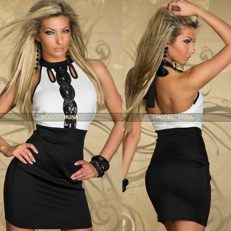 Black White High Neck Vintage Sequins Sleeveless Dress Ball Party