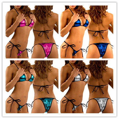 Sexy-Metallic-Triangle-Bikini-Top-Bottom-Beach-Swim-Wear-4-Colors-WM3023
