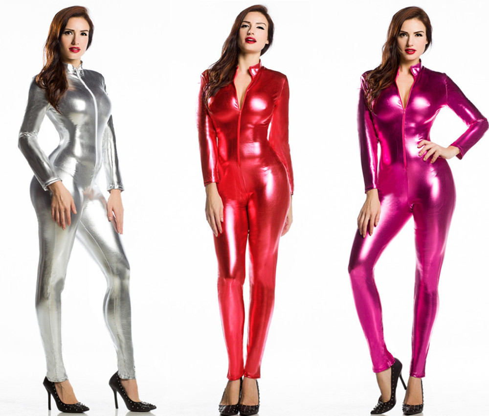 Shiny-Metallic-Zentai-Catsuit-Bodysuit-Zip-Up-Erotic-WOMENS-Playsuit-O-S-M80375