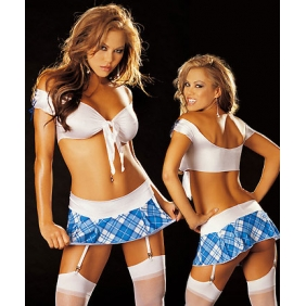 Sexy white school girl cheerleader costume blue plaid skirt outfit