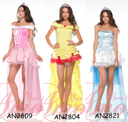 Princess-Blue-Pink-Long-Dress-w-Crown-Yellow-Belle-of-the-Ball-Costume-AN2804