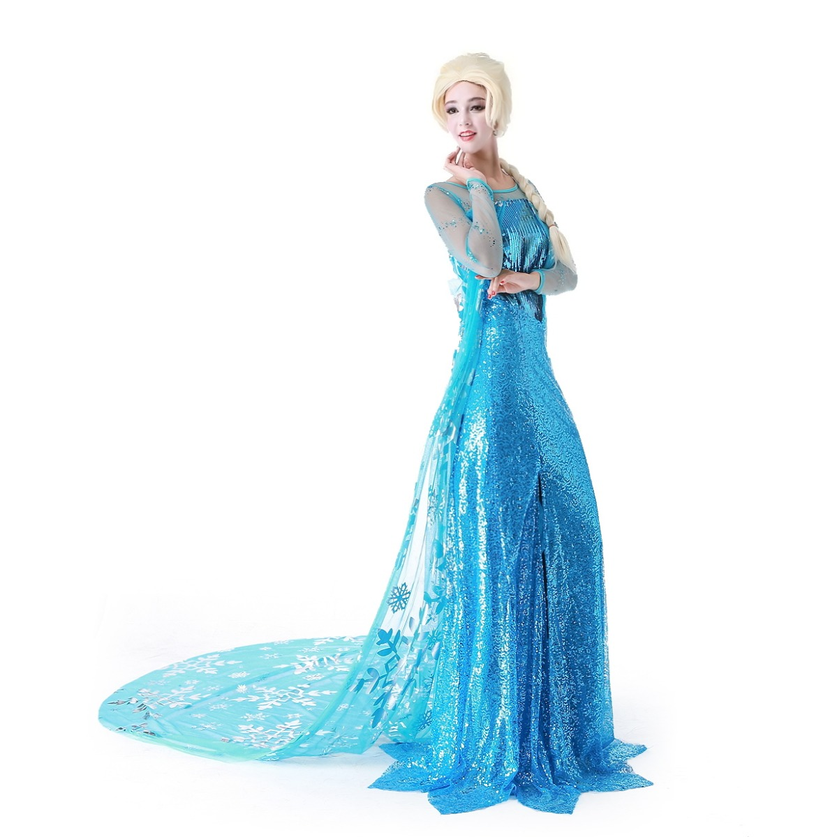 adult women disney frozen elsa princess queen evening maxi dress costume w wig ebay. Black Bedroom Furniture Sets. Home Design Ideas