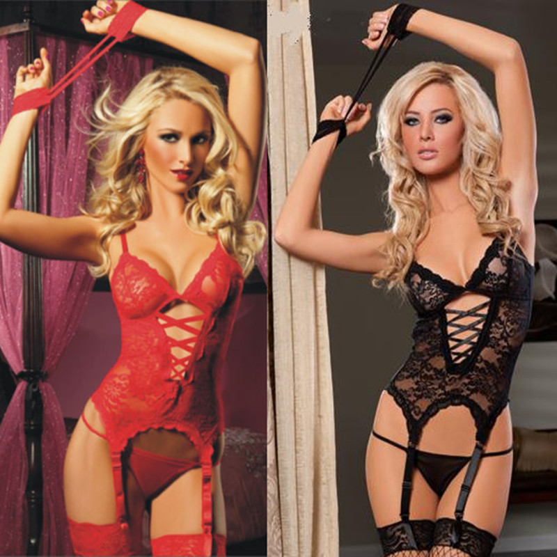 Red-Hot-Pink-Lingerie-Lace-Cami-Bustier-Set-w-handcuffs-Valentines-Day-HH1014