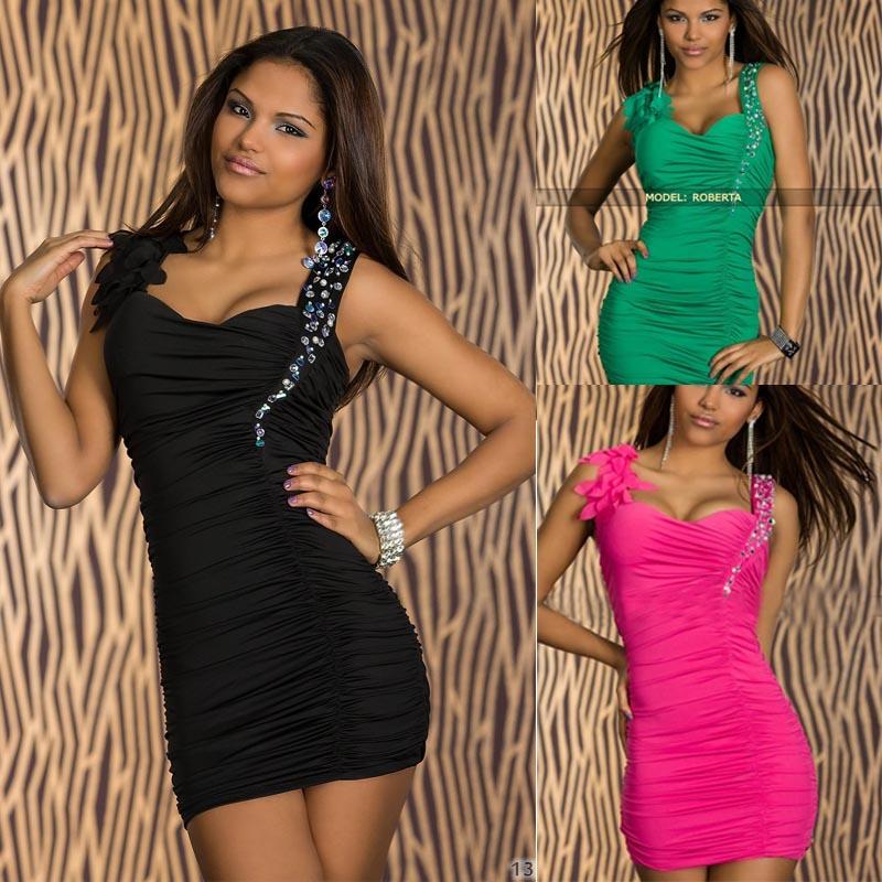 Pink/Blk/Green Clubwear Rhinestones Ruched Bodycon Cocktail Dress