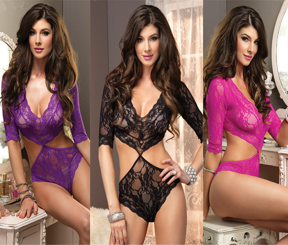 Lingerie-SEXYFloral-Lace-Cut-Out-Teddy-Romper-Valentines-Holiday-Gift-SW6109