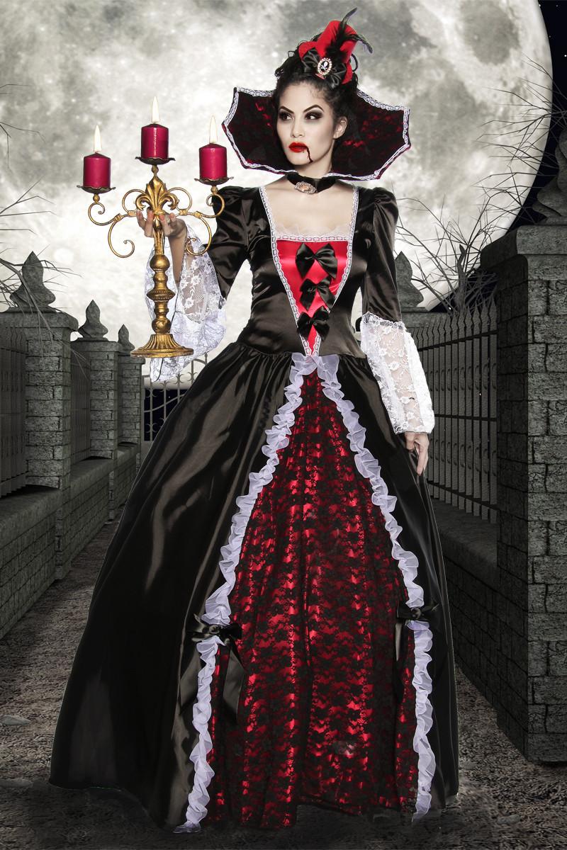 deluxe vampire queen women adult costume full length balll. Black Bedroom Furniture Sets. Home Design Ideas