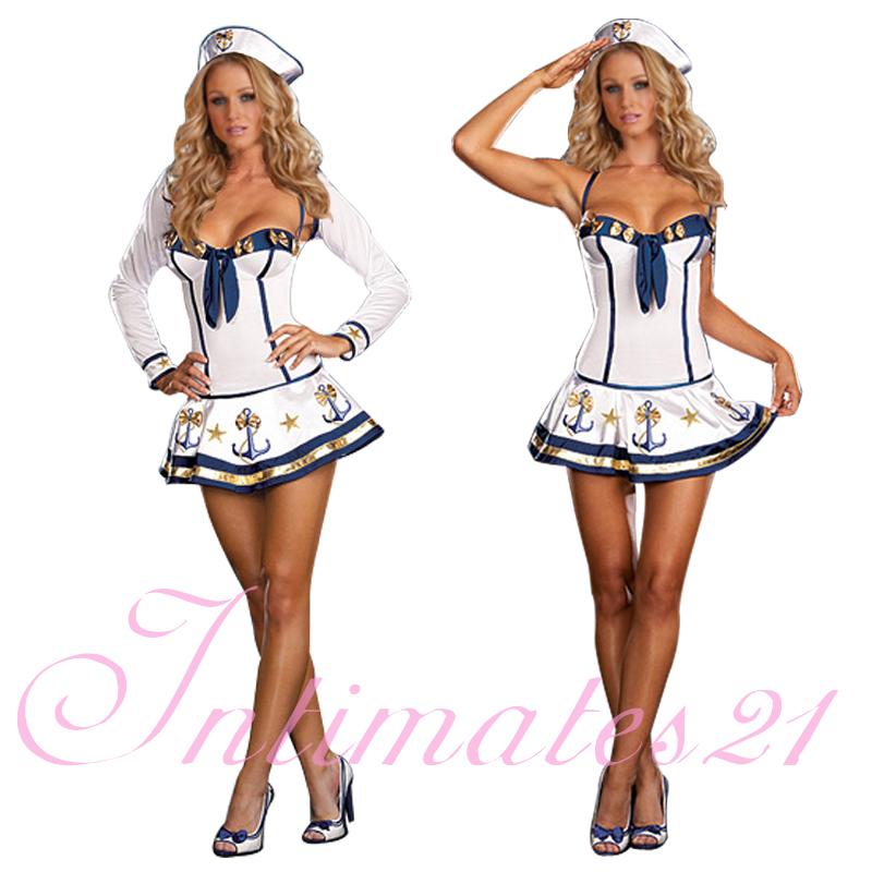 sexy halloween matrose marine m dchen punktmuster kost m kleid anzug karneval ebay. Black Bedroom Furniture Sets. Home Design Ideas