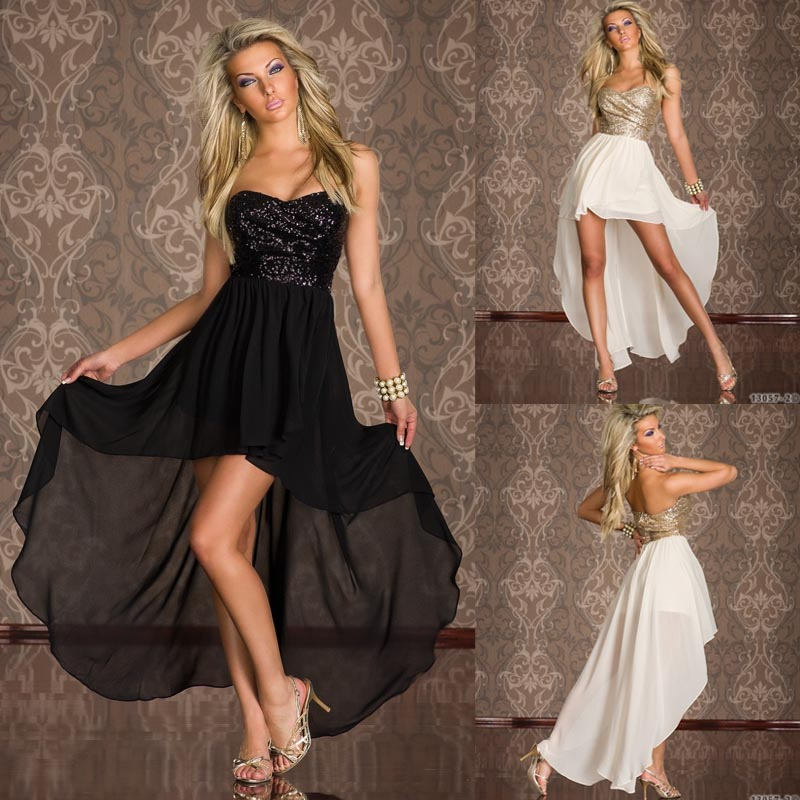 Fashion Blk/White Sequined Bandeau Strapless Prom Evening Dress Clubwear