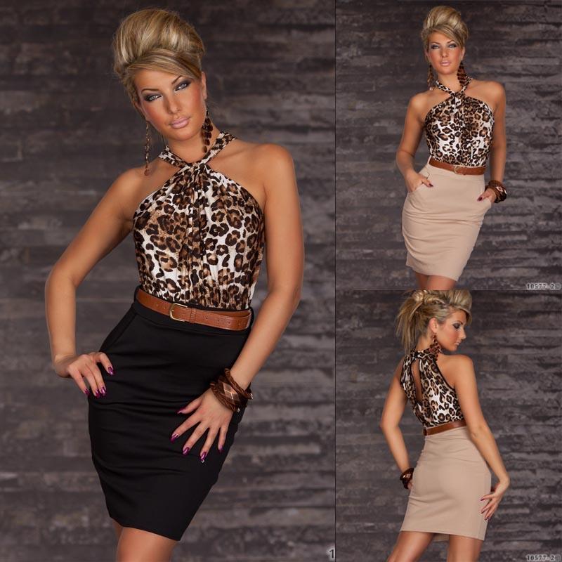 NEW Clubwear Beige/Black Halter Leopard Print Prom Party Cocktail Dress