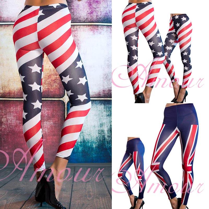 American Flag Striped Star/British Union JackFlag Stretch Pants Tights Leggings