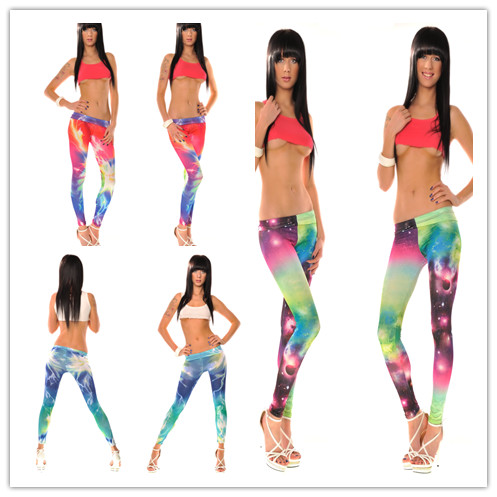 2013 Stretchy Tight Long Leggings Galaxy Cosmo/lightning Print Clubwear @BS057