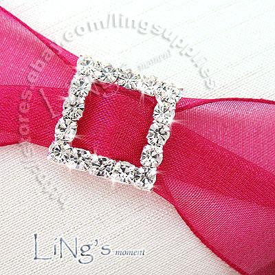 A-Grade Rhinestone Square Buckle Ribbon Slider Wedding Craft Decoration 20x 50x