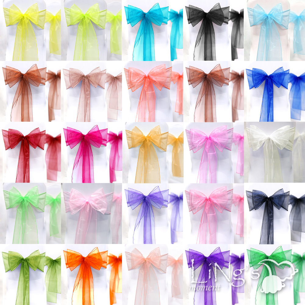 25-Wedding-Party-Banquet-Chair-Organza-Sash-Bow-COLORS