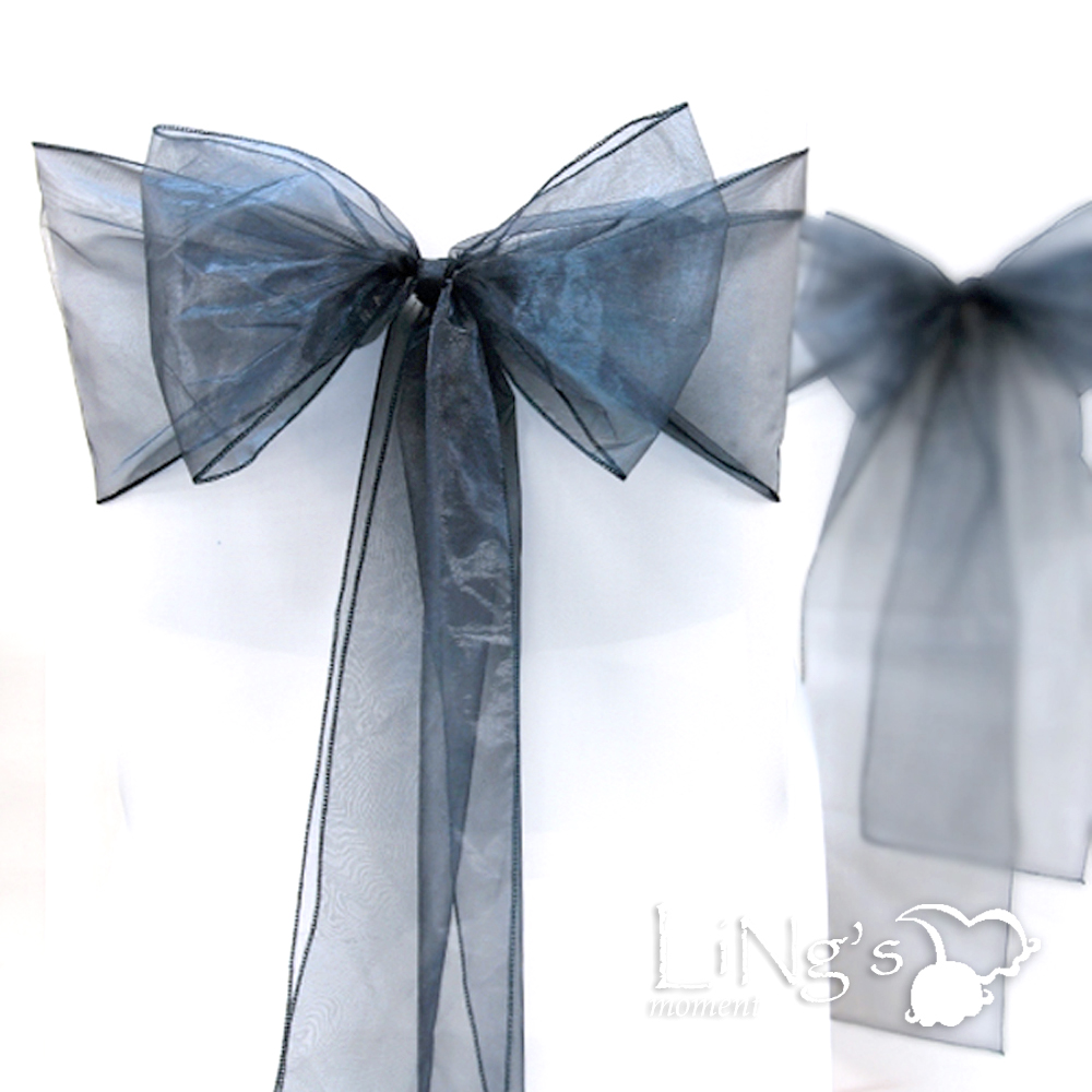 1-5-10-25-200-Wedding-Party-Banquet-Chair-Organza-Sash-Bow-COLORS