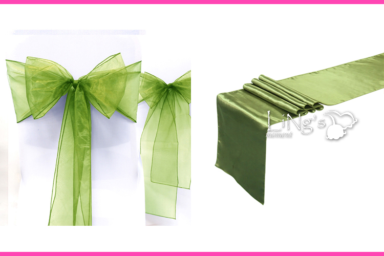 Organza Chair Sash Bow + Satin Table Runner Wedding Anniversary Party Decoration