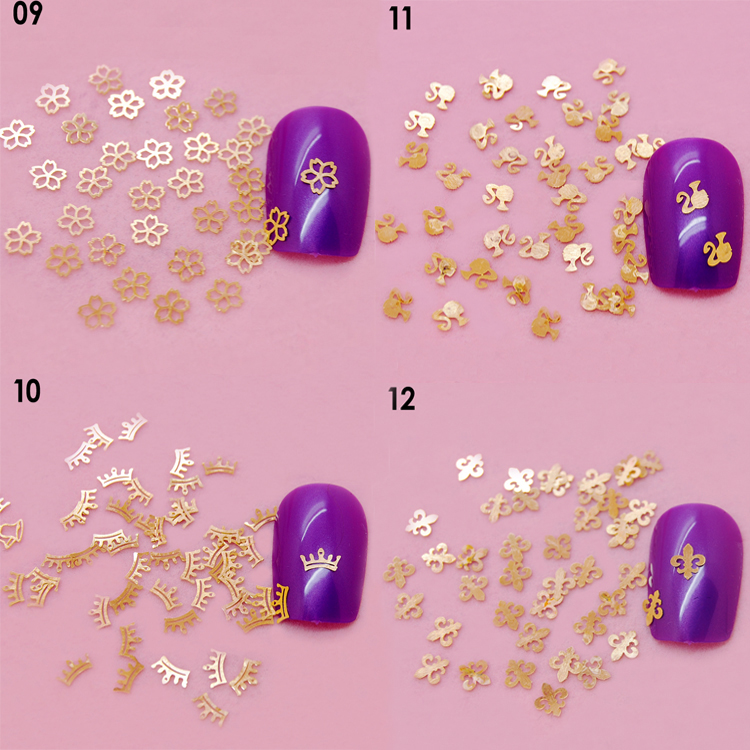Golden Nail Art Metal Sticker Nail Art Decoration Sticker Available in 14 Shapes