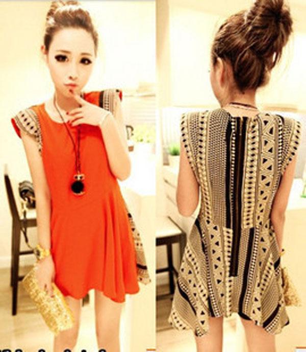 Retro-Individuality-Geometric-patterns-Shoulder-pads-Dress-2Color