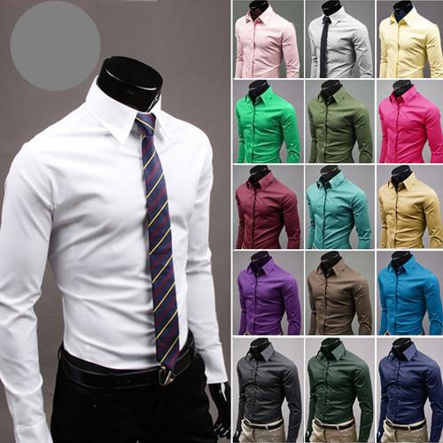 New-Mens-Luxury-Stylish-Casual-Dress-Slim-Fit-Shirts-17Colours-5-Size-V0062