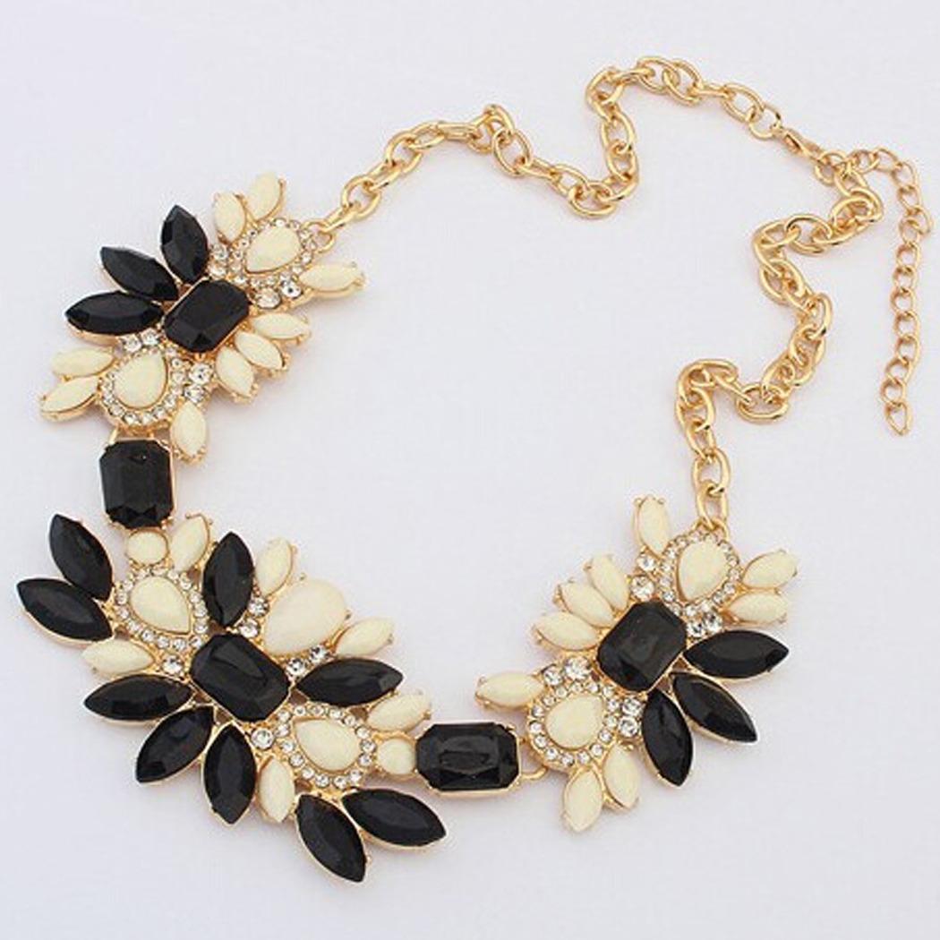Femme collier perle pendentif cristal chaîne Bijoux fantaisie bib surdimensionné