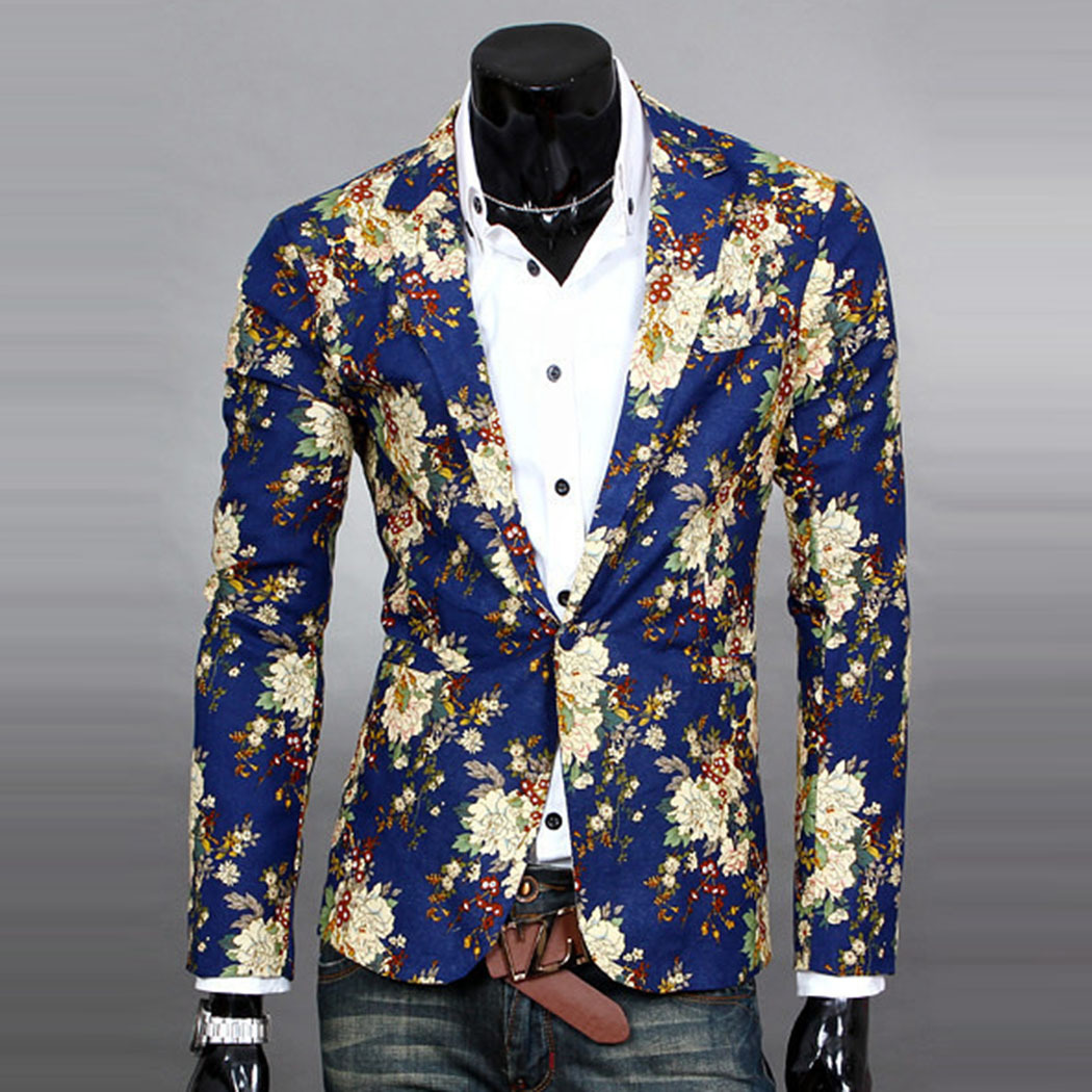 herren mode freizeit anzug slim hochzeit blume jacke blazer mantel sakko neu ebay. Black Bedroom Furniture Sets. Home Design Ideas