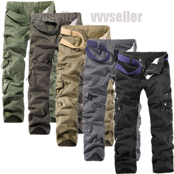 MENS-CASUAL-MILITARY-POCKETS-CARGO-CAMO-COMBAT-PANTS-TROUSERS-SIZE-31-38-v279