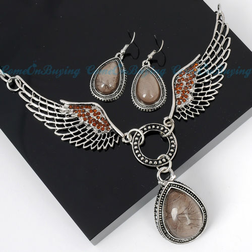 CRYSTAL ANGEL WING EARRINGS NECKLACE PENDANT JEWELRY SETS