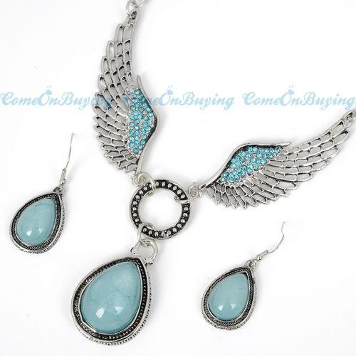 TIBETAN SILVER BLUE CRYSTAL ANGEL WING EARRINGS NECKLACE PENDANT