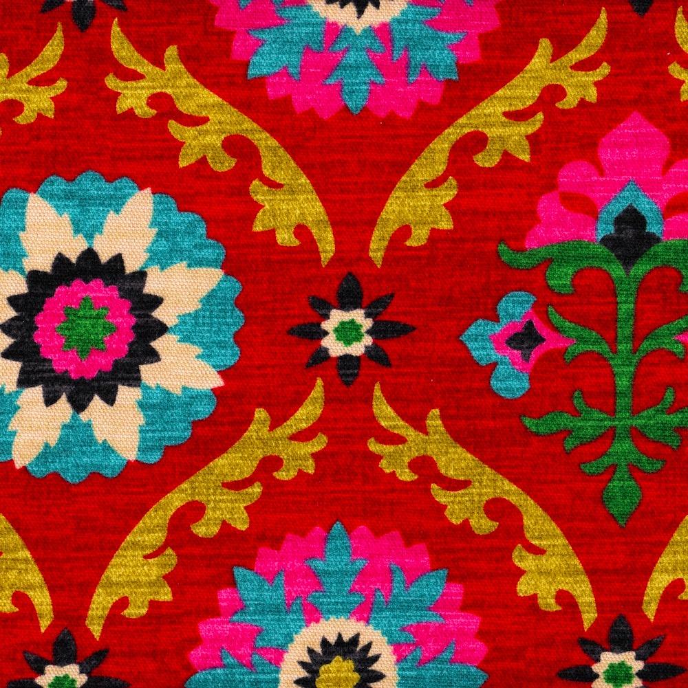 "Close to Custom Linens Mayan Medallion Desert Flower Suzani 108"" Rod Pocket Curtain Panels Pair, Cotton (Unlined)"