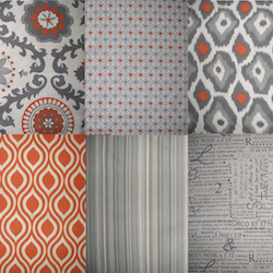 orange and gray curtains - photo #6
