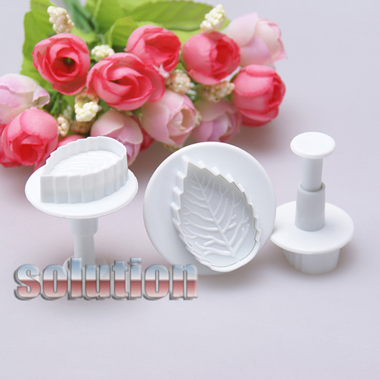 3pcs Leaf Fondant Cake Decorating Sugarcraft Icing Cutter ...