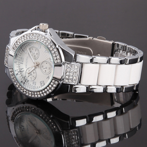 Luxury-Silver-White-Strap-Bling-Crystal-Mens-Ladies-Xmas-Gift-Quartz-Wrist-Watch