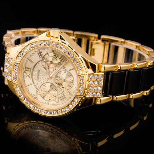 Fashion-Golden-Womens-Ladys-Black-Band-Xmas-GIFT-Diamond-Gemstone-Crystal-Watch