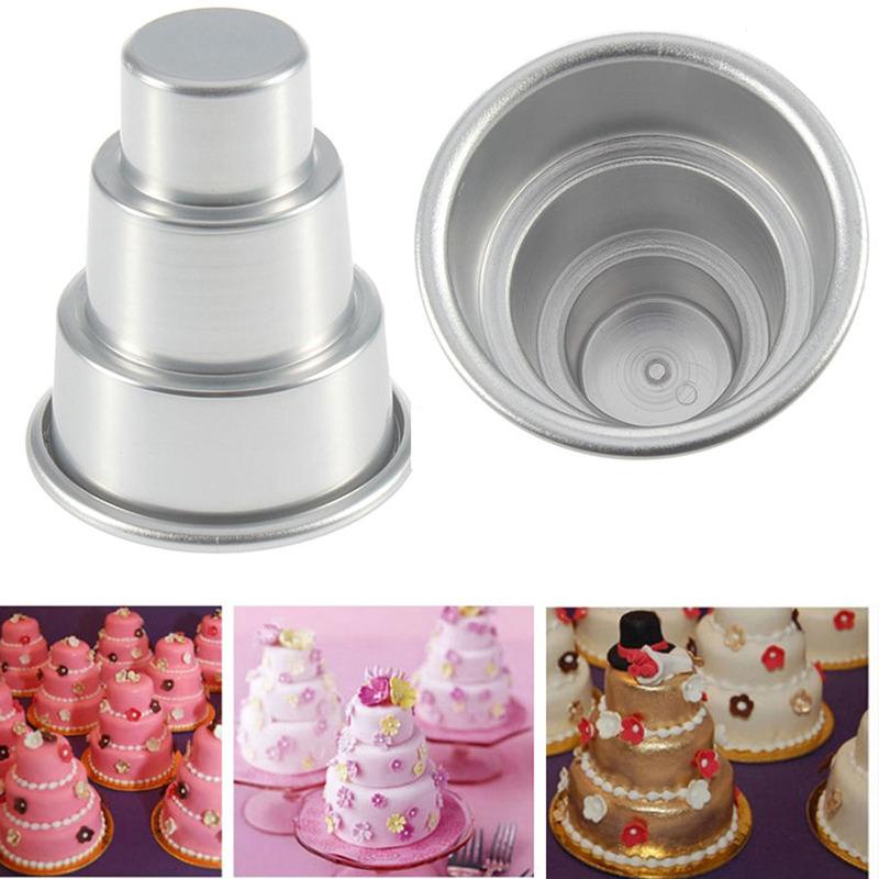 Details About 3 Sizes Mini 3 Tier Wedding Cake Tins Pudding Pan Baking