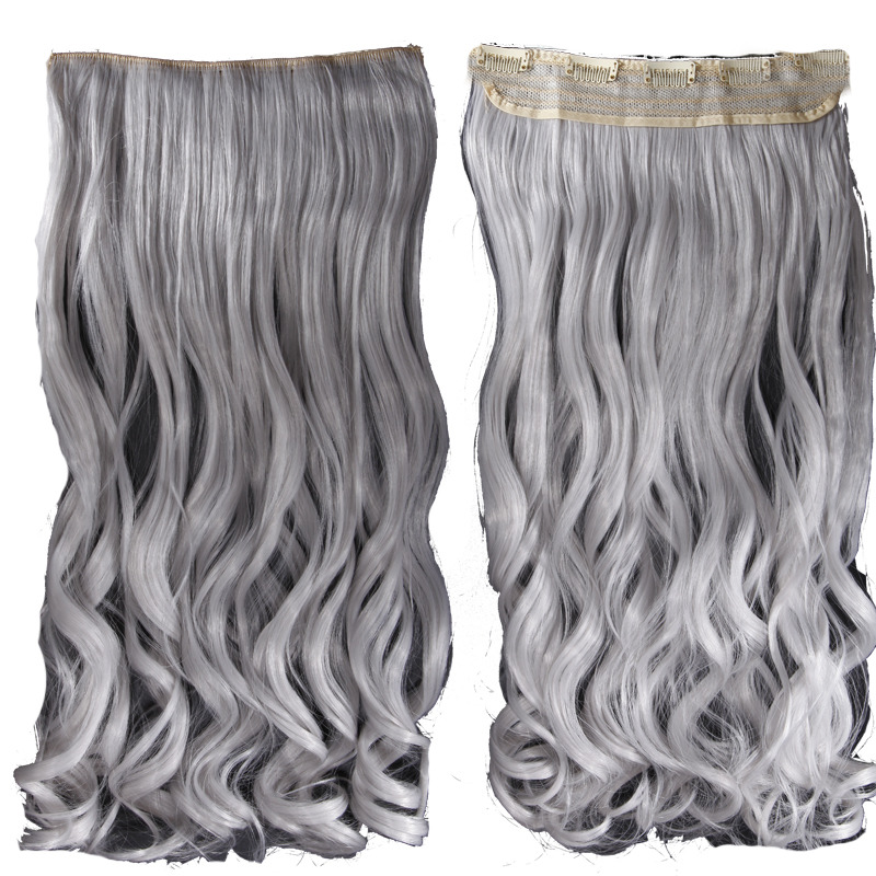 Silver Grey Clip In Hair Extensions Triple Weft Hair Extensions