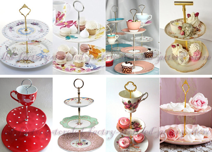 Mixed 12 Styles 3 Tier Art Deco Cake Plate Stand Handle ...