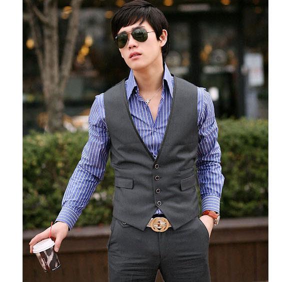 Mens-Top-Designed-Casual-Slim-Fit-Skinny-dress-vest-Waistcoat-2-Colors-MCH0634